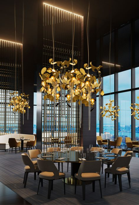 modern chandelier from contemporary lighting collection in high end restaurant brand van egmond for exclusive interior design and luxury homes