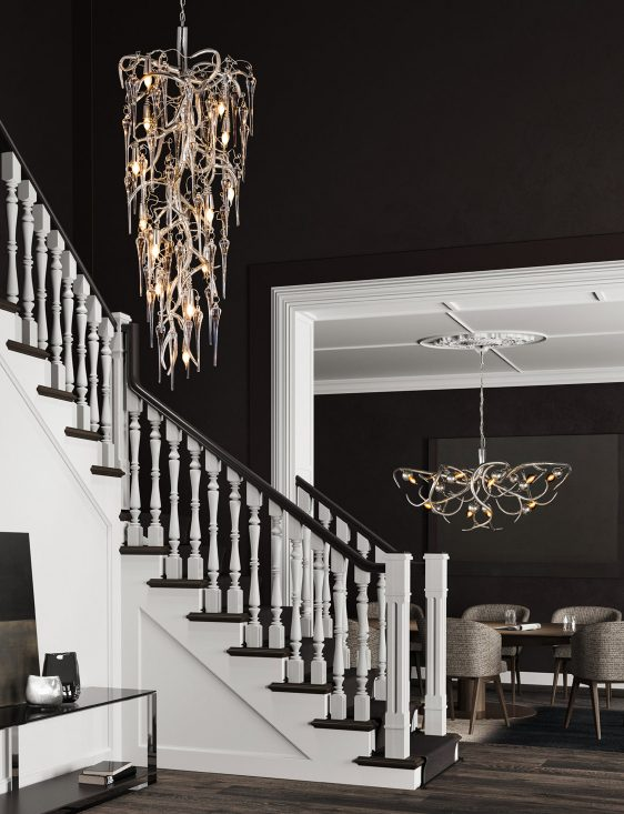 modern decorative chandelier staircase from contemporary lighting collection brand van egmond for exclusive interior designs and luxury homes