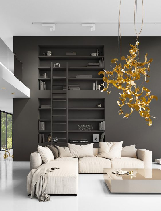 modern chandelier in gold in contemporary interior design