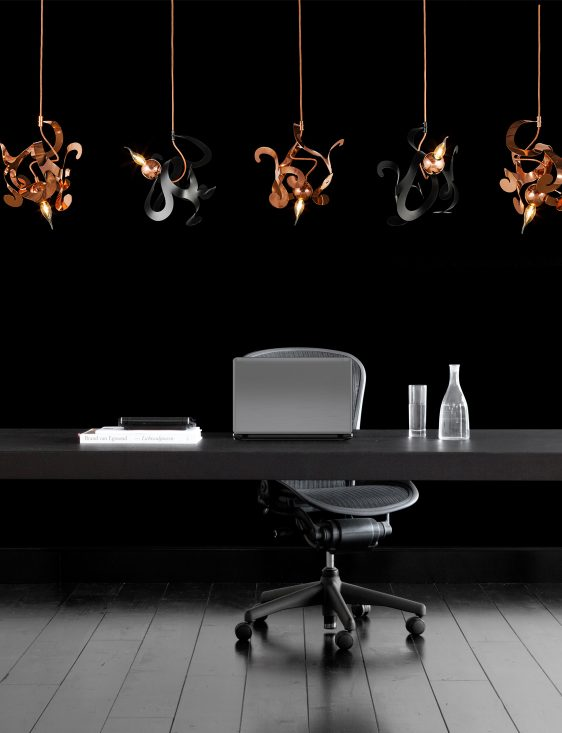 different modern light fixtures from contemporary lighting collection in luxury office interior design project
