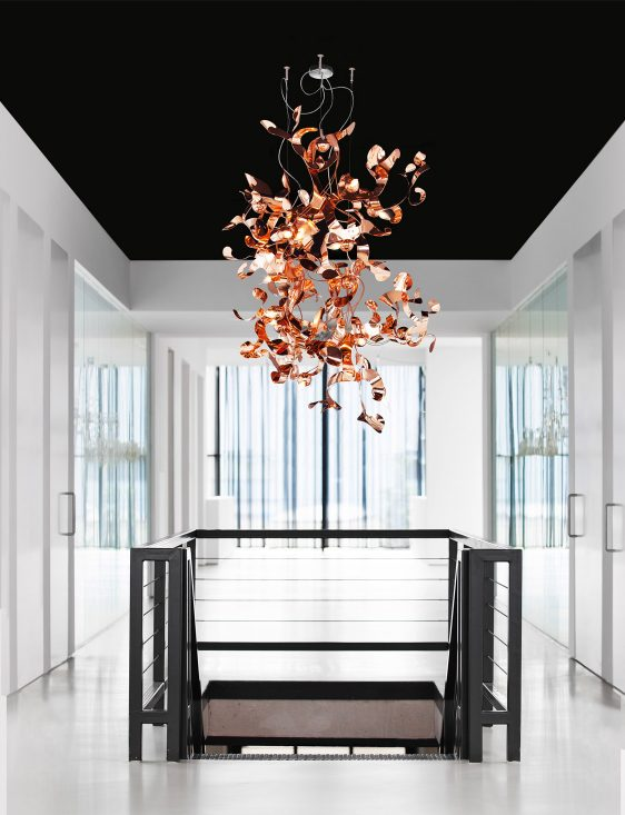 modern chandelier gold in stairway at brand van egmond head quarters from contemporary lighting collection