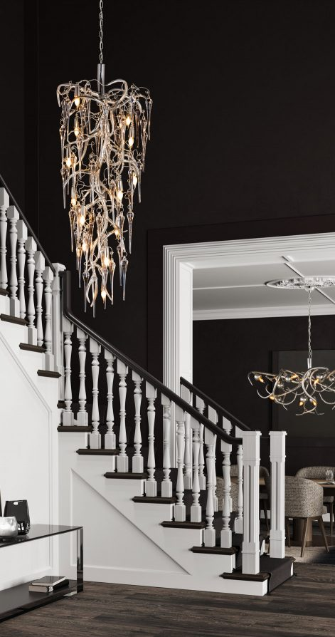 modern decorative chandelier stairway hallway from contemporary lighting collection brand van egmond for exclusive interior designs and luxury homes